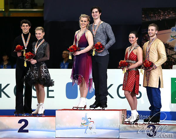 The medalists - Gilles & Poirier (silver), Hubbell & Donohue (gold) and Aldridge & Eaton (bronze)